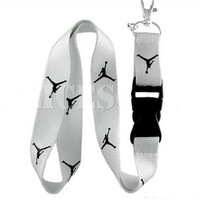 Michael Jordan Lanyard Jumpman Logo White / Black Keychain Holder New*