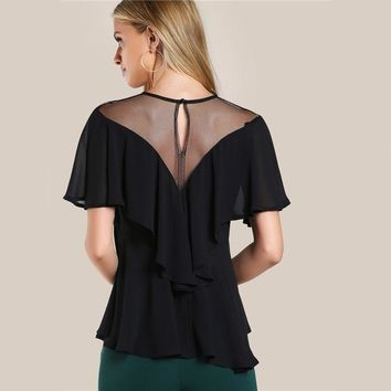 Mesh Cut Out Flounce Tunic Tops