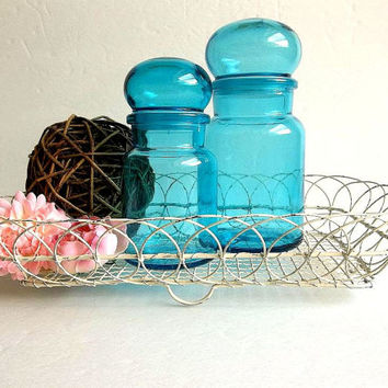 Gorgeous Vintage set Belgian Blue glass apothecary jars w French antique shabby cottage wire tray / basket apothecary bottles bubble top lid