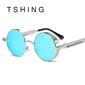 Vintage Gothic Steampunk Sunglasses Men Coating Mirrored Women Retro Round Circle Sun glasses Retro For Male Steam Punk UV400