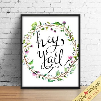 Unique handwritten cowboy print, Hey Yall wall art, canvas quote, wall quote poster, calligraphy country print decor, sayings typography