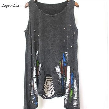 Sexy punk rock tank top black tassel cutout vest European and American style hole streetwear beading inkjet shirt LT199