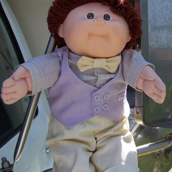 Cabbage Patch Kids Boy Doll 1982 Brown Hair & Brown Eyes // Glasses // Dimple // Bow Tie Vest // Preppy