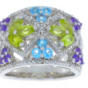 Amethyst Peridot Blue Topaz & Diamond Ring .925 Sterling Silver