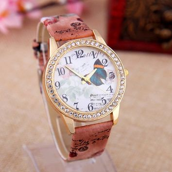 Women's Rhinestone Butterfly Graffiti Watch with Brown Leather Strap