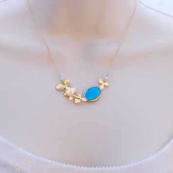 Turquoise Bezel Necklace - 16k Gold Orchid Flowers and 14k Gold Filled Chain