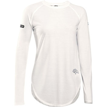 Women's Denver Broncos Under Armour White Combine Authentic Studio Long Sleeve T-Shirt
