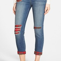 Junior Women's SP Black Destroyed & Repaired Plaid Patch Boyfriend Jeans ,