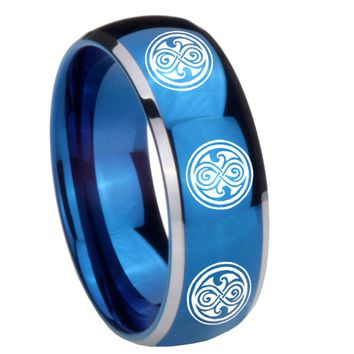 8MM Glossy Blue Dome Multiple Doctor Who Tungsten Carbide 2 Tone Laser Engraved Ring