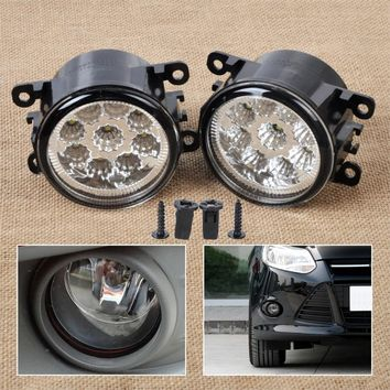2x 55W 9-LED Round Front Right Left Fog Lamp DRL Daytime Running Driving Lights 4F9Z-15200-AA for Ford Focus Acura Honda Subaru