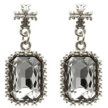 Antique Cross Crystal Earring