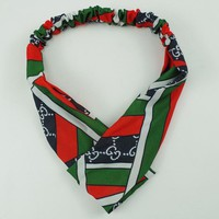 GUCCI Women Red and Green Accessory Headwrap Headband Wide Hair Bands