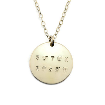 Latitude And Longitude Disc Necklace