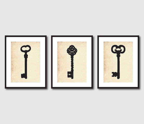 Kitchen Wall Art Trio 5 X 7 Antique Key From Susan Newberry