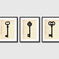 Kitchen Wall Art Trio 5 x 7 Antique Key Silhouettes - Room Decor on vintage paper or chalkboard