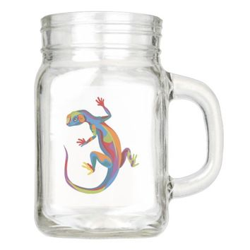 Painted Lizard Mason Jar