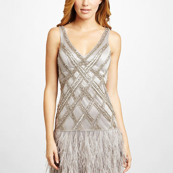ideeli | SUE WONG V-Neck Cocktail Dress with Feather Skirt