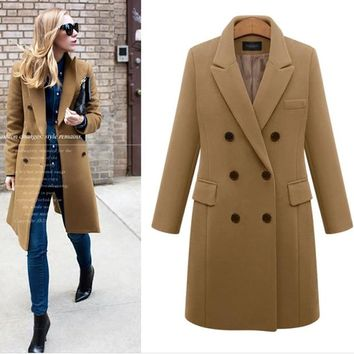 Long Winter Coat Women Warm Double Breasted Wool Blends Work Office Ladies Cardigans Plus Size 5XL Turn Down Collar Jackets