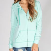 Full Tilt Womens Burnout Hoodie Mint  In Sizes