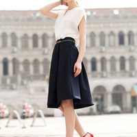 Black High Waist Space  Cocoon Fit Midi Skirt