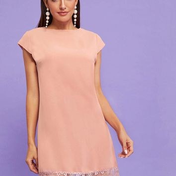 Contrast Eyelash Lace Hem Cap Sleeve Pastel Pink Dress