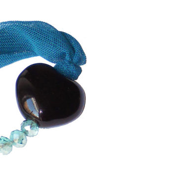 Valentines fabric bracelet with black heart - One of a kind textile jewel from Heartme collection