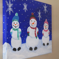 Holiday Decor, Playful Snowman Family, Christmas Painting on Canvas, Cute Christmas gift, 10x8 ORIGINAL