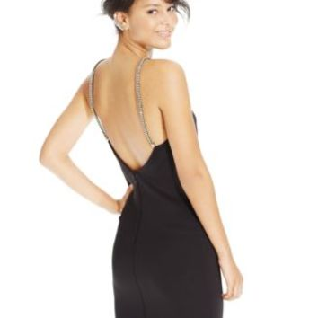 Speechless Juniors' Rhinestone-Strap Bodycon Scuba Dress | macys.com