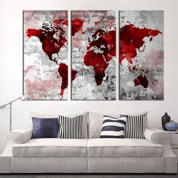 Large Wall Art - World Map Canvas Print, Red World Map Wall Art, Extra Large World Map on Gray Wall Canvas Print, Grey World Map Wall Art