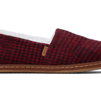 TOMS - Women's Classics Red Plaid Leather Wrap Slip-Ons