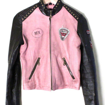 vintage womens leather motorcycle jacket - womens pink and black leather jacket - cropped leather motorcycle jacket - size extra small