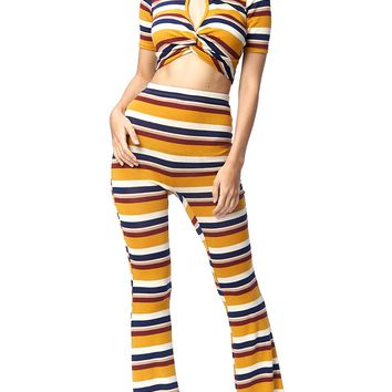 Relax in Stripes Flared Pants