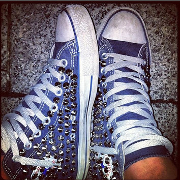 Studded Converse, Converse high top with silver conical rivet studs by CUSTOMDUO on ETSY