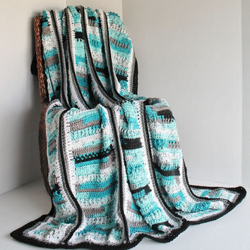 Afghan - Handmade Crochet Blanket - Teals, White, and Black