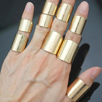 9Pcs Tribal Brushed Gold Flat Band Stack Cuff  Finger Rings Set