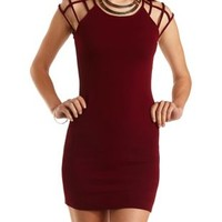 Cage Sleeve Bodycon Dress by Charlotte Russe - Wine