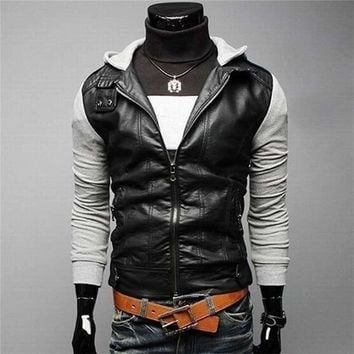 Fashion Men Rock Style PU Leather  Coat  Slim Jacket  Hoodie Patchwork Cloth 002