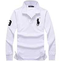 Hot Sale Ralph lauren MEN Long Sleeve Polo Shirt 100% COTTON TOP