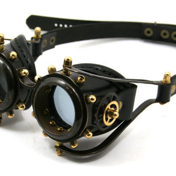 STEAMPUNK GOGGLES made of blackened brass black leather $200.00