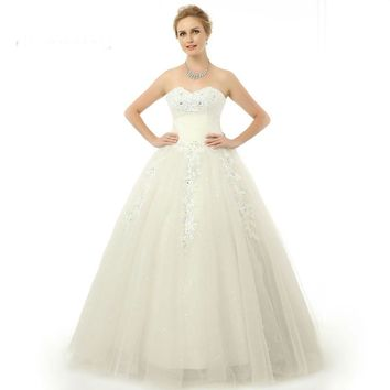 Long Wedding Dress Tulle Applique Lace Up Wedding Dress Bridal Gown