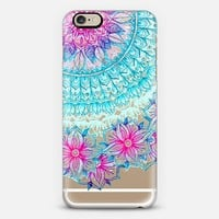 Pink & Teal Floral on Transparent iPhone 6 case by Micklyn Le Feuvre | Casetify