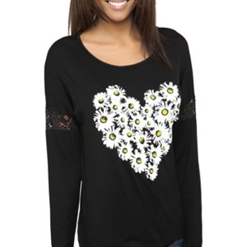 Long Sleeve Top with Daisy Heart Screen and Lace Sleeve Insets