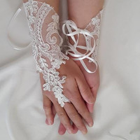 french lace, ivory- long, wedding gloves, bridal acceessories gloves,bridal gloves, free shipping!