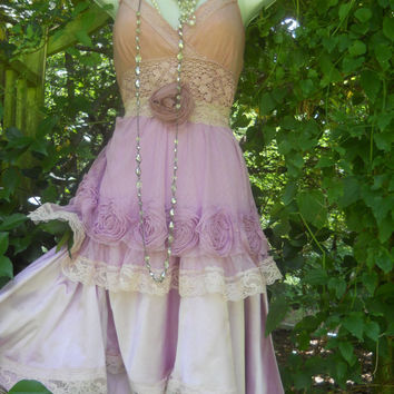 Lavender roses dress silk lace gypsy boho rose by vintageopulence