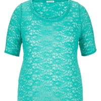 Plus Size - Elbow Length Sleeve Scoop Neck Lace Tee