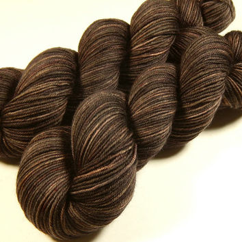 Hand Dyed Yarn - Sport Weight Superwash Merino Wool Yarn - Bark Tonal - Knitting Yarn, Sock Yarn, Wool Yarn, Brown