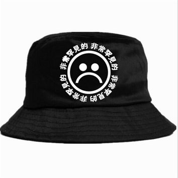 Boonie Flat Fishman Hat Summer KYC Vintage Black Bucket Hat Sad Boys Men Women Hip Hop Fishing Cap Sprots Chapeau Panama Sunhat