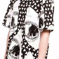 Black And White Shark Print Short-Sleeve Shirt