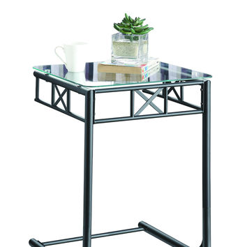 Black Metal Snack Table With A Tempered Glass Top