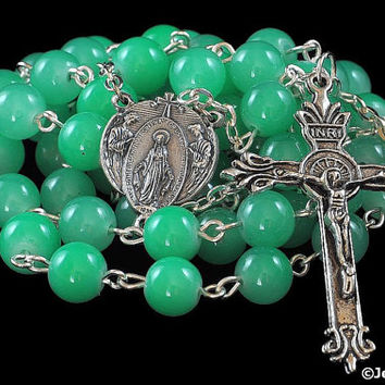 Traditional Rosary Catholic Lady of Grace Green Jade Glass Bead Silver